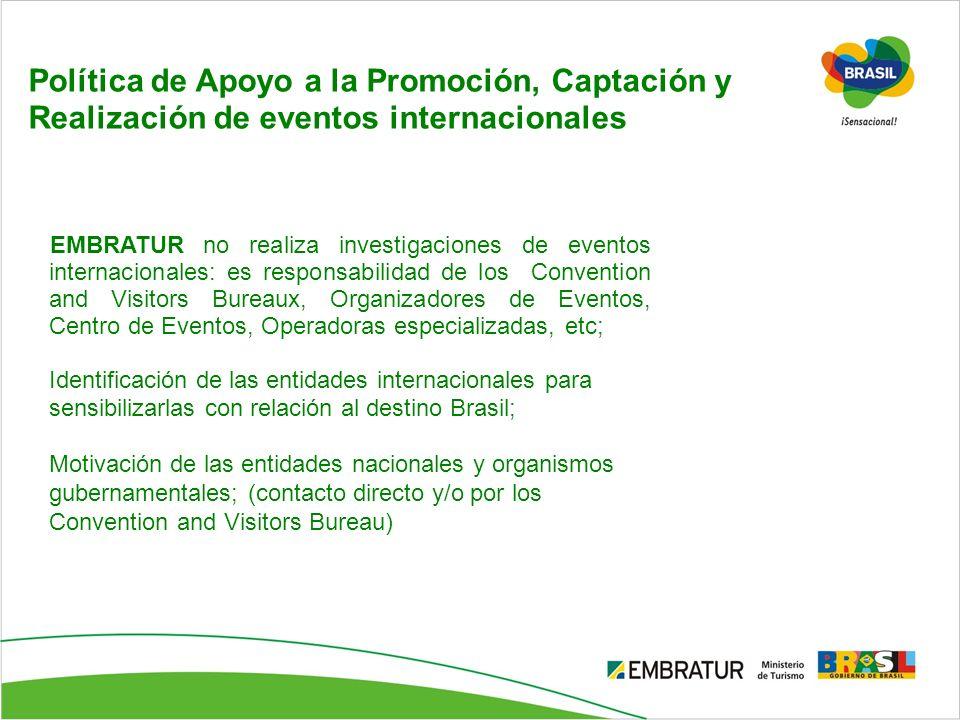 Política de Apoyo a la Promoción, Captación y Realización de eventos internacionales EMBRATUR no realiza investigaciones de eventos internacionales: e