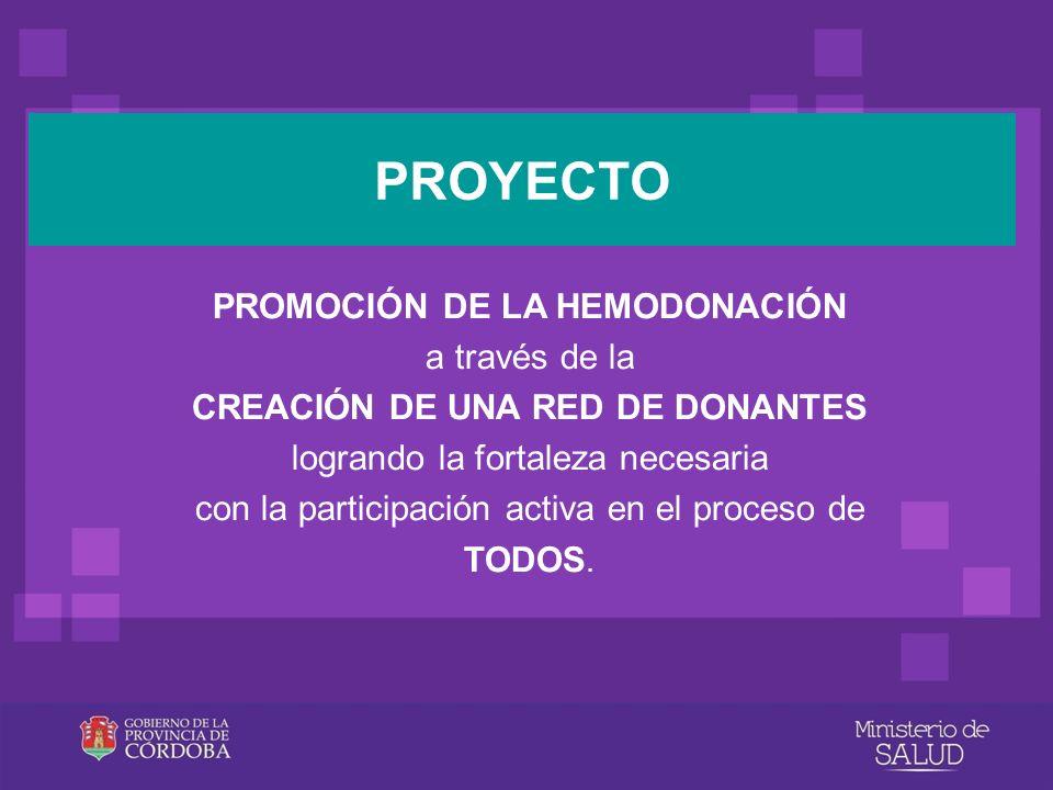 PROMOCIÓN DE LA HEMODONACIÓN a través de la CREACIÓN DE UNA RED DE DONANTES logrando la fortaleza necesaria con la participación activa en el proceso
