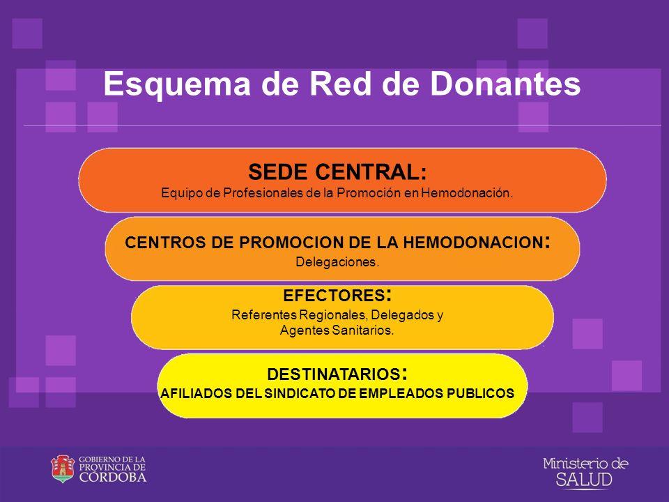 Esquema de Red de Donantes SEDE CENTRAL: Equipo de Profesionales de la Promoción en Hemodonación. CENTROS DE PROMOCION DE LA HEMODONACION : Delegacion