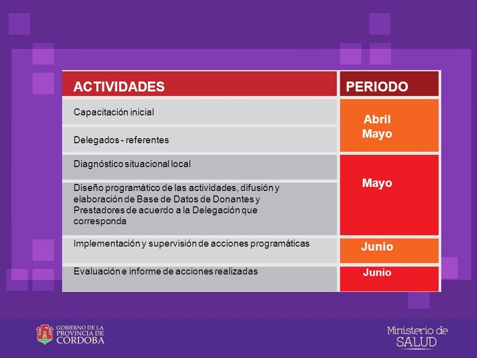 ACTIVIDADESPERIODO Capacitación inicial Delegados - referentes Diagnóstico situacional local Diseño programático de las actividades, difusión y elabor