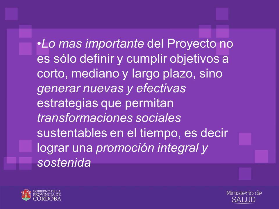 Lo mas importante del Proyecto no es sólo definir y cumplir objetivos a corto, mediano y largo plazo, sino generar nuevas y efectivas estrategias que