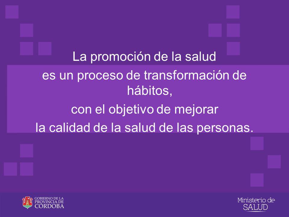 La promoción de la salud es un proceso de transformación de hábitos, con el objetivo de mejorar la calidad de la salud de las personas.