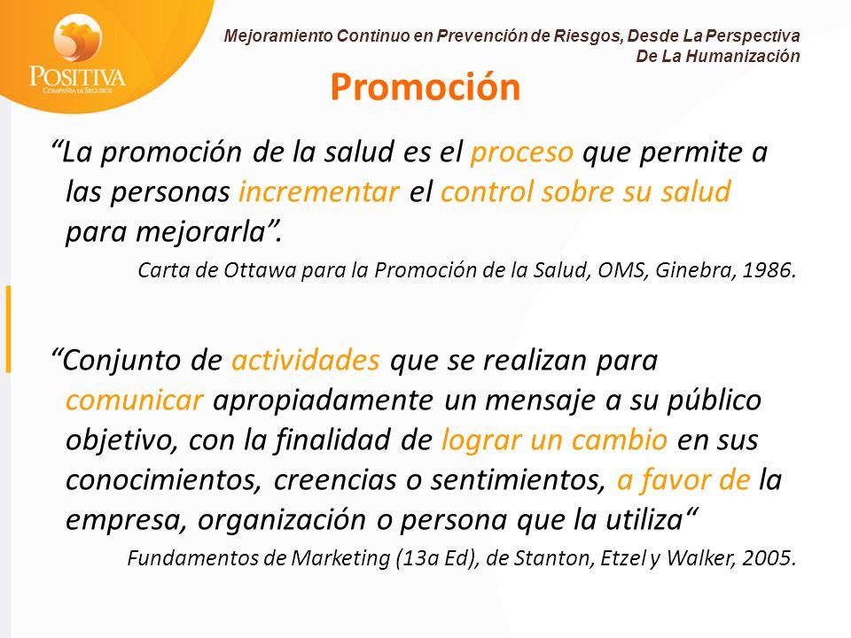 Promoción La promoción de la salud es el proceso que permite a las personas incrementar el control sobre su salud para mejorarla.