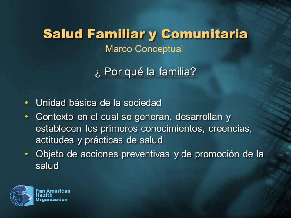 Pan American Health Organization Salud Familiar y Comunitaria ¿ Por qué la familia? Unidad básica de la sociedad Contexto en el cual se generan, desar