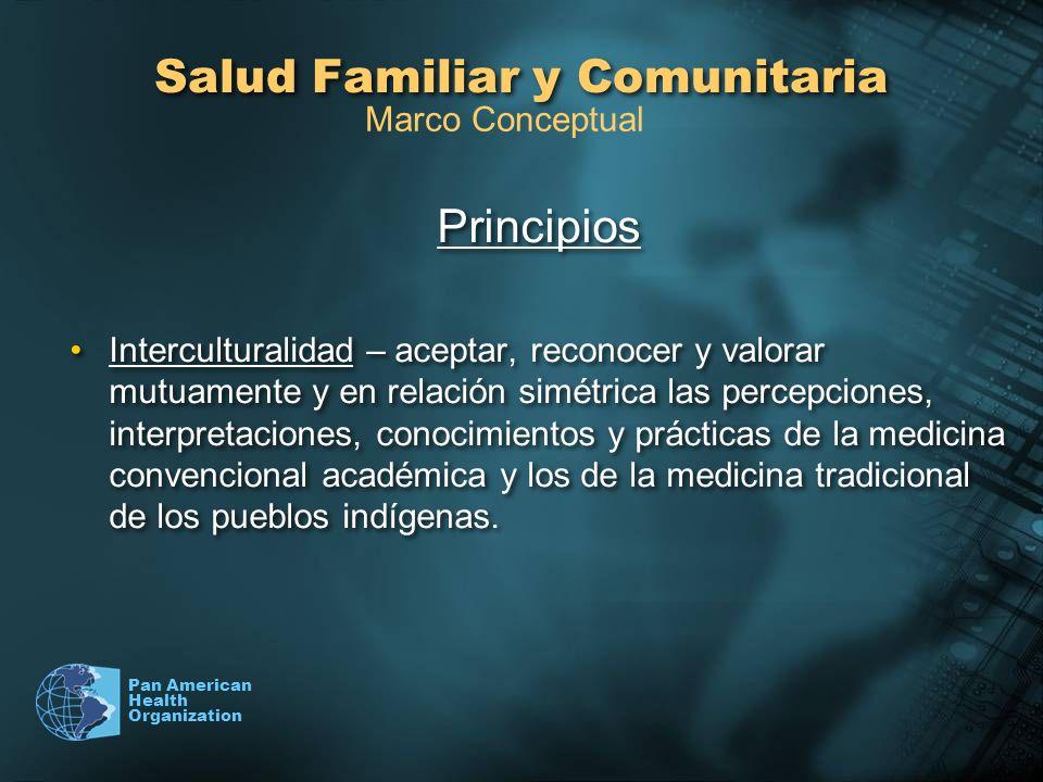 Pan American Health Organization Salud Familiar y Comunitaria Principios Interculturalidad – aceptar, reconocer y valorar mutuamente y en relación sim