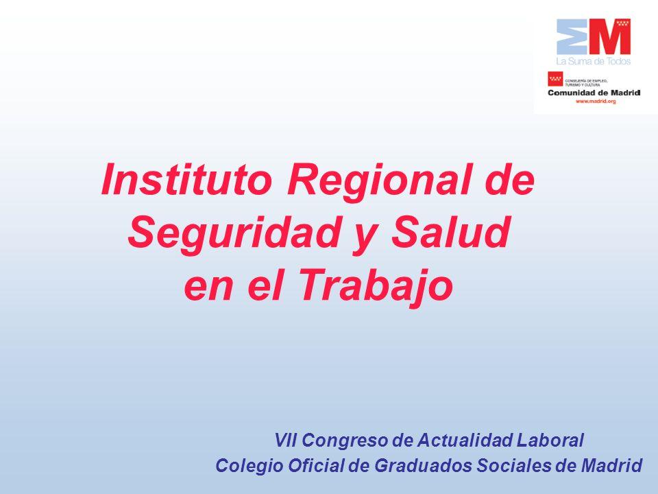 Instituto Regional de Seguridad y Salud en el Trabajo VII Congreso de Actualidad Laboral Colegio Oficial de Graduados Sociales de Madrid