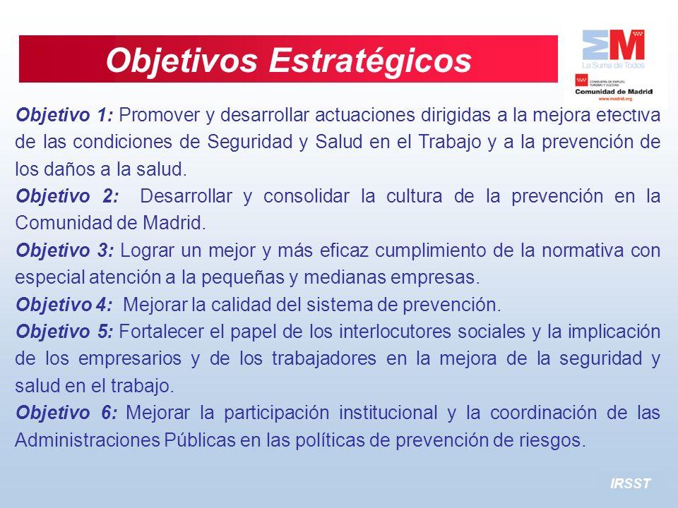 IRSST Objetivos Estratégicos Objetivo 1: Promover y desarrollar actuaciones dirigidas a la mejora efectiva de las condiciones de Seguridad y Salud en