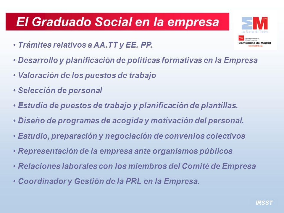 Trámites relativos a AA.TT y EE. PP. Desarrollo y planificación de políticas formativas en la Empresa Valoración de los puestos de trabajo Selección d