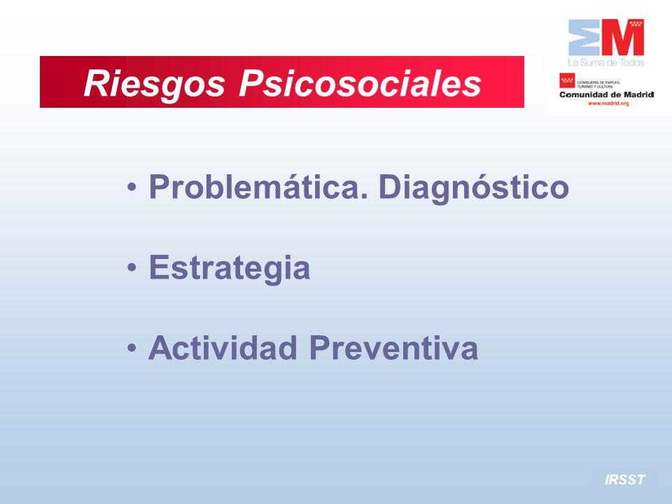 IRSST Problemática. Diagnóstico Estrategia Actividad Preventiva Riesgos Psicosociales