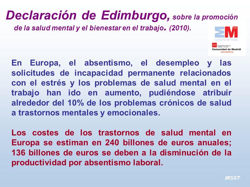 IRSST En Europa, el absentismo, el desempleo y las solicitudes de incapacidad permanente relacionados con el estrés y los problemas de salud mental en