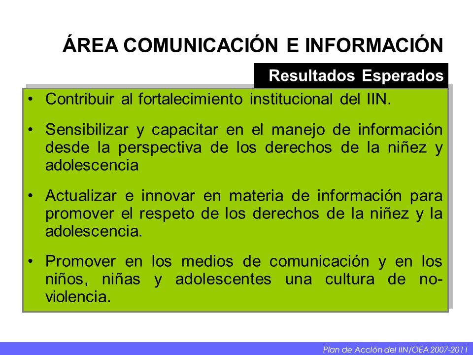 Contribuir al fortalecimiento institucional del IIN. Sensibilizar y capacitar en el manejo de información desde la perspectiva de los derechos de la n
