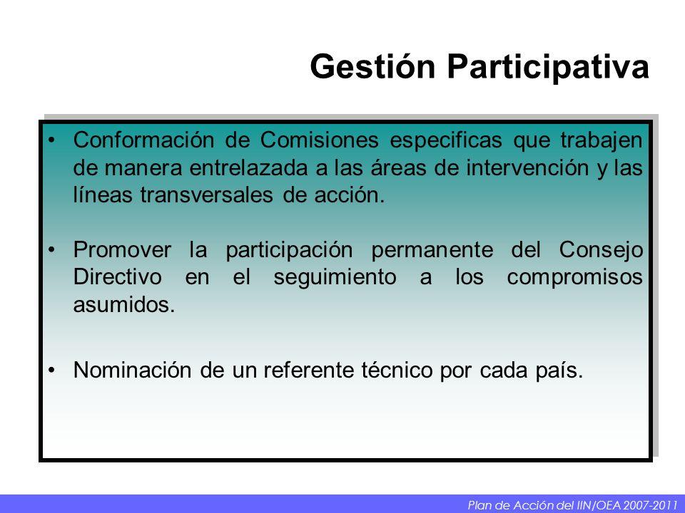 Gestión Participativa Conformación de Comisiones especificas que trabajen de manera entrelazada a las áreas de intervención y las líneas transversales de acción.