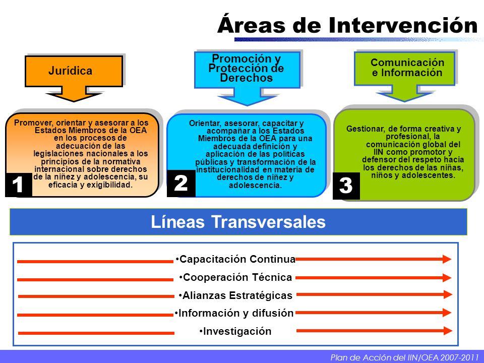 Áreas de Intervención Promoción y Protección de Derechos Comunicación e Información Jurídica Capacitación Continua Cooperación Técnica Alianzas Estrat