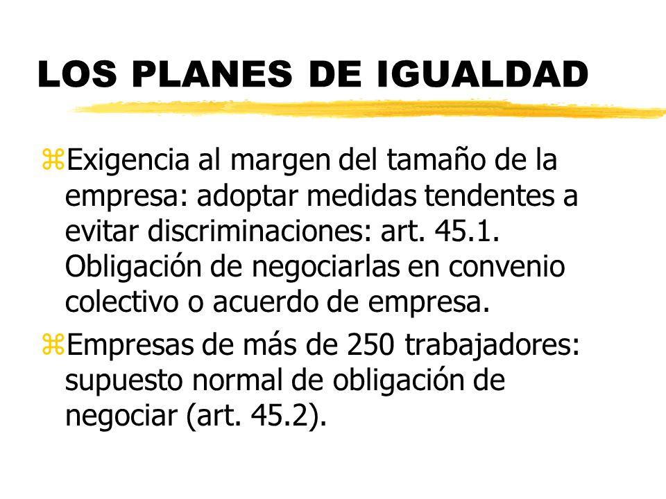 LOS PLANES DE IGUALDAD zExigencia al margen del tamaño de la empresa: adoptar medidas tendentes a evitar discriminaciones: art. 45.1. Obligación de ne