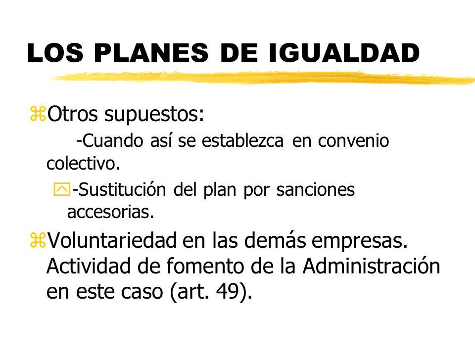 LOS PLANES DE IGUALDAD zOtros supuestos: -Cuando así se establezca en convenio colectivo. y-Sustitución del plan por sanciones accesorias. zVoluntarie