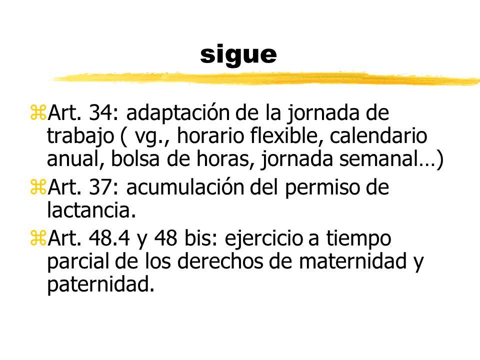 sigue zArt. 34: adaptación de la jornada de trabajo ( vg., horario flexible, calendario anual, bolsa de horas, jornada semanal…) zArt. 37: acumulación