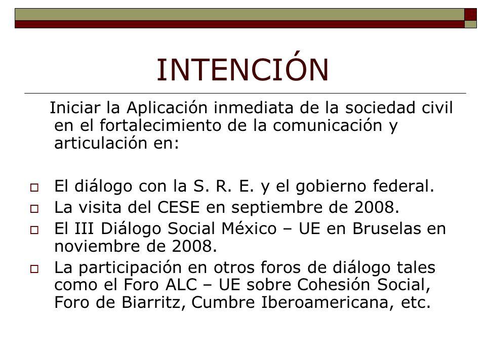 INTENCIÓN Iniciar la Aplicación inmediata de la sociedad civil en el fortalecimiento de la comunicación y articulación en: El diálogo con la S.
