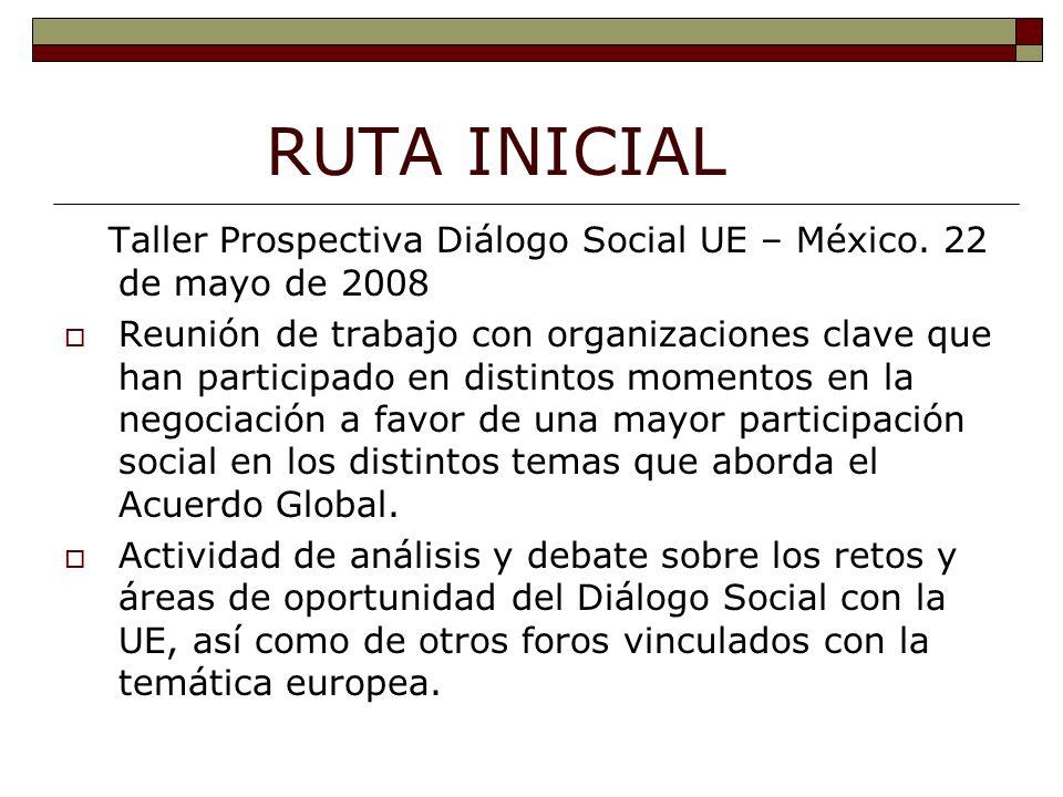 RUTA INICIAL Taller Prospectiva Diálogo Social UE – México.