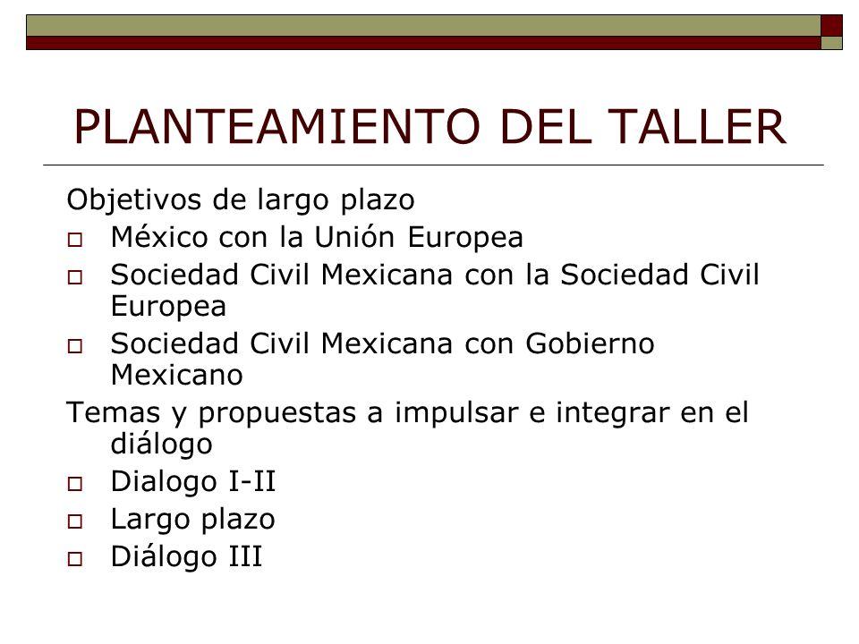 PLANTEAMIENTO DEL TALLER Objetivos de largo plazo México con la Unión Europea Sociedad Civil Mexicana con la Sociedad Civil Europea Sociedad Civil Mexicana con Gobierno Mexicano Temas y propuestas a impulsar e integrar en el diálogo Dialogo I-II Largo plazo Diálogo III