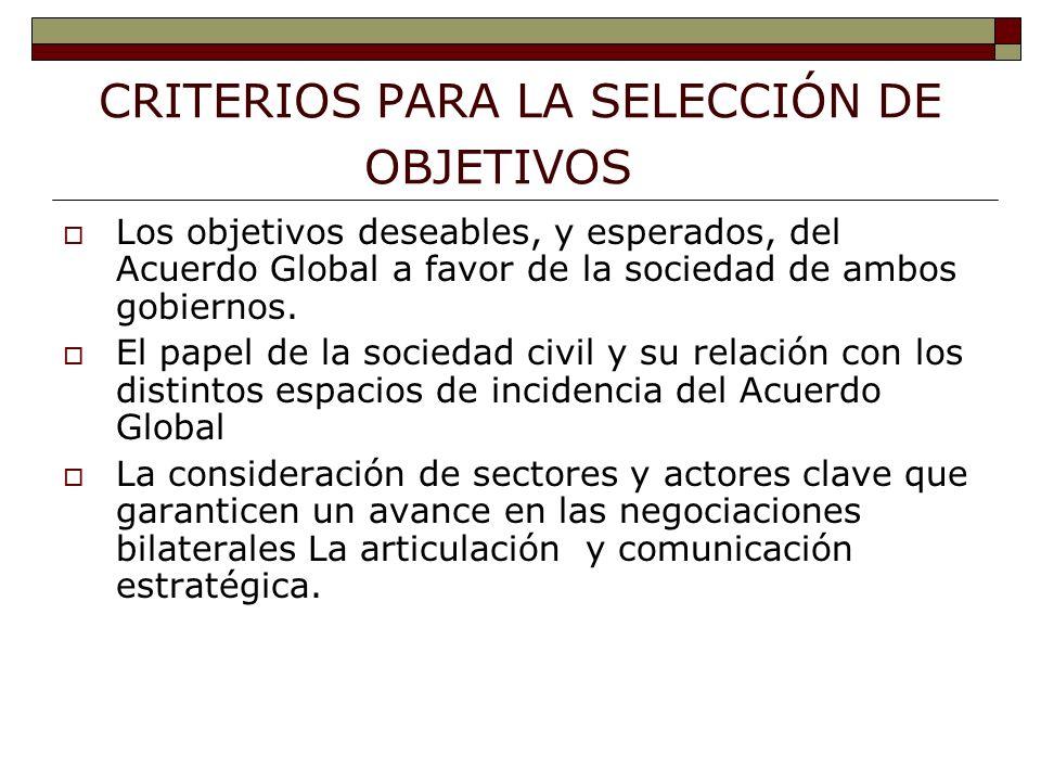 CRITERIOS PARA LA SELECCIÓN DE OBJETIVOS Los objetivos deseables, y esperados, del Acuerdo Global a favor de la sociedad de ambos gobiernos.