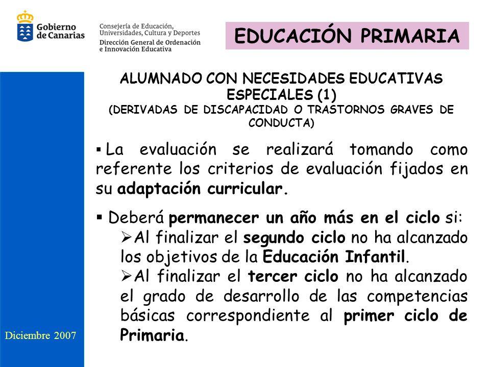 ALUMNADO CON NECESIDADES EDUCATIVAS ESPECIALES (1) (DERIVADAS DE DISCAPACIDAD O TRASTORNOS GRAVES DE CONDUCTA) La evaluación se realizará tomando como