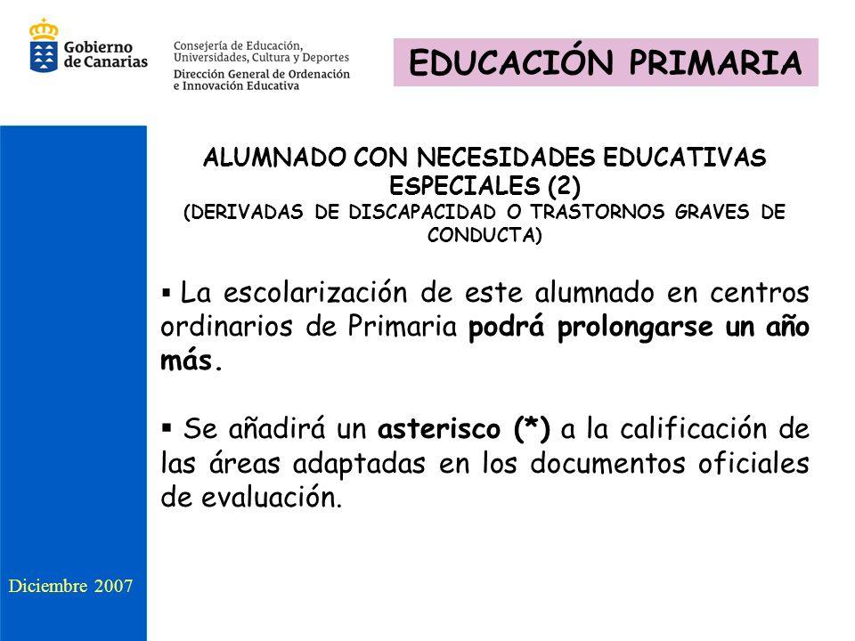 ALUMNADO CON NECESIDADES EDUCATIVAS ESPECIALES (2) (DERIVADAS DE DISCAPACIDAD O TRASTORNOS GRAVES DE CONDUCTA) La escolarización de este alumnado en c