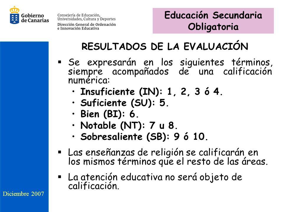 RESULTADOS DE LA EVALUACIÓN Se expresarán en los siguientes términos, siempre acompañados de una calificación numérica: Insuficiente (IN): 1, 2, 3 ó 4