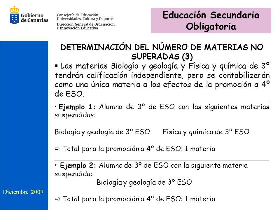 DETERMINACIÓN DEL NÚMERO DE MATERIAS NO SUPERADAS (3) Las materias Biología y geología y Física y química de 3º tendrán calificación independiente, pe