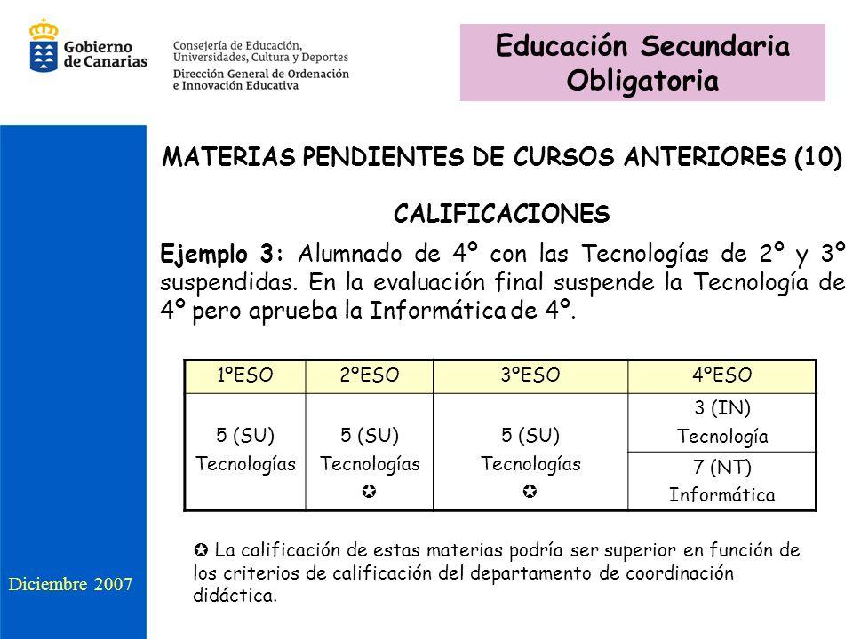 MATERIAS PENDIENTES DE CURSOS ANTERIORES (10) CALIFICACIONES Ejemplo 3: Alumnado de 4º con las Tecnologías de 2º y 3º suspendidas. En la evaluación fi