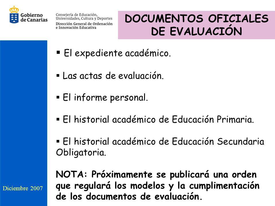 El expediente académico. Las actas de evaluación. El informe personal. El historial académico de Educación Primaria. El historial académico de Educaci