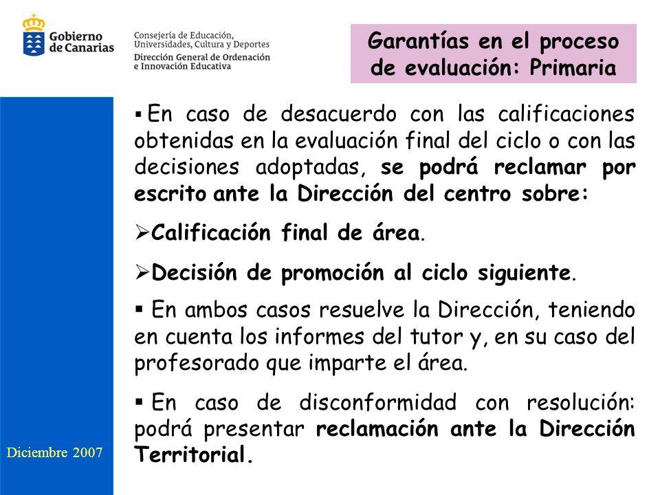 Diciembre 2007 Garantías en el proceso de evaluación: Primaria En caso de desacuerdo con las calificaciones obtenidas en la evaluación final del ciclo