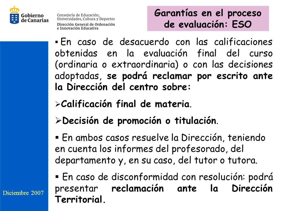 Diciembre 2007 En caso de desacuerdo con las calificaciones obtenidas en la evaluación final del curso (ordinaria o extraordinaria) o con las decision