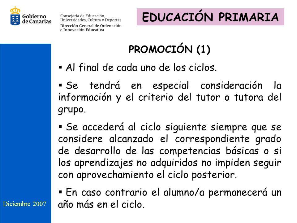 PROMOCIÓN (1) Al final de cada uno de los ciclos. Se tendrá en especial consideración la información y el criterio del tutor o tutora del grupo. Se ac