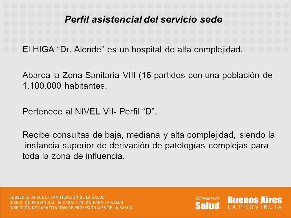 Perfil asistencial del servicio sede El HIGA Dr.Alende es un hospital de alta complejidad.