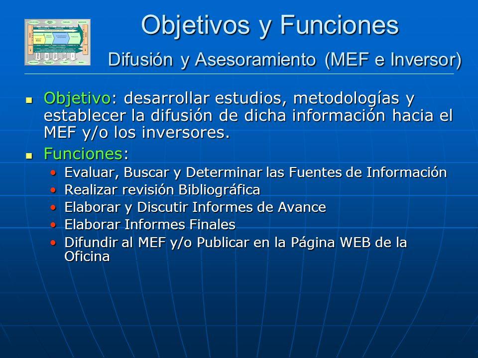 DESARROLLO SECTOR PRIVADO Objetivos y Funciones Difusión y Asesoramiento (MEF e Inversor) Objetivo: desarrollar estudios, metodologías y establecer la difusión de dicha información hacia el MEF y/o los inversores.