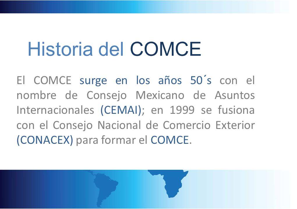 El COMCE surge en los años 50´s con el nombre de Consejo Mexicano de Asuntos Internacionales (CEMAI); en 1999 se fusiona con el Consejo Nacional de Co