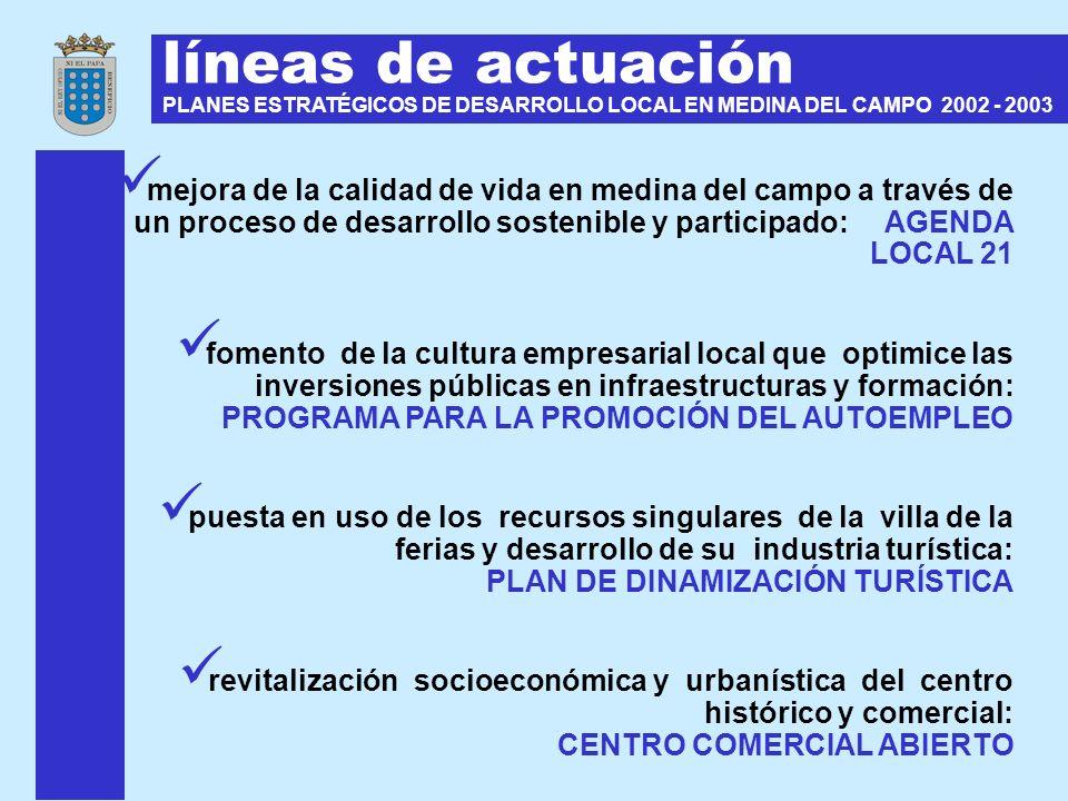 líneas de actuación PLANES ESTRATÉGICOS DE DESARROLLO LOCAL EN MEDINA DEL CAMPO 2002 - 2003 mejora de la calidad de vida en medina del campo a través
