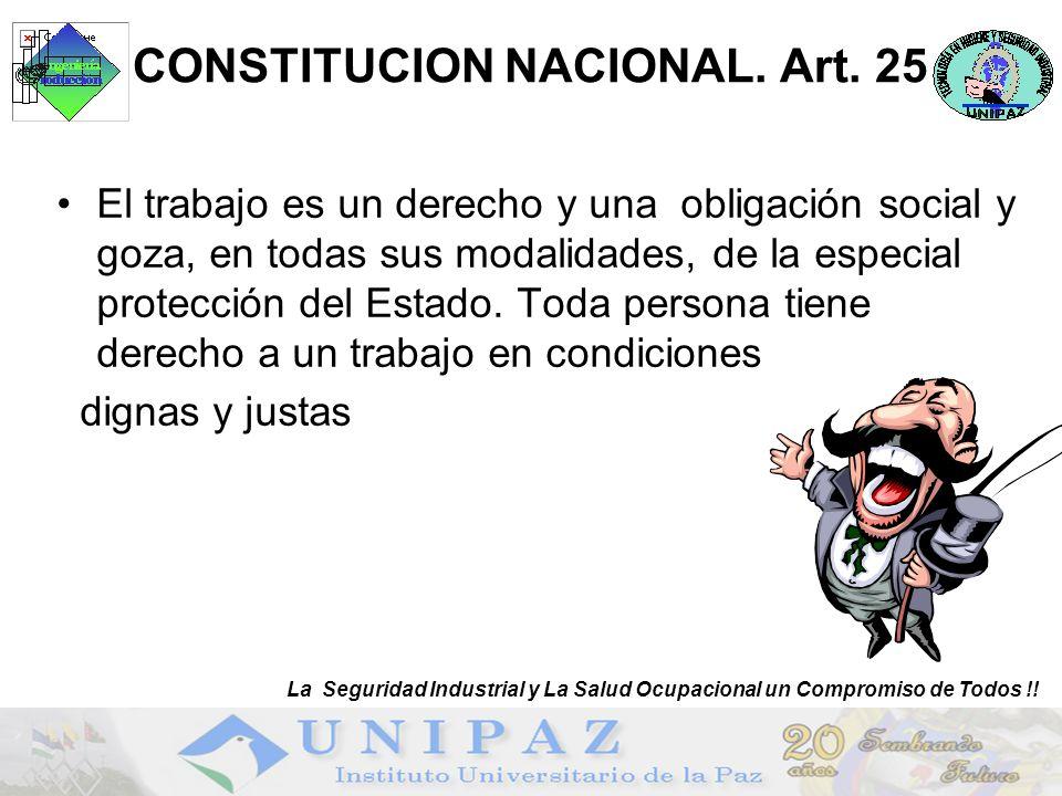 1 CONSTITUCION NACIONAL. Art. 25 El trabajo es un derecho y una obligación social y goza, en todas sus modalidades, de la especial protección del Esta
