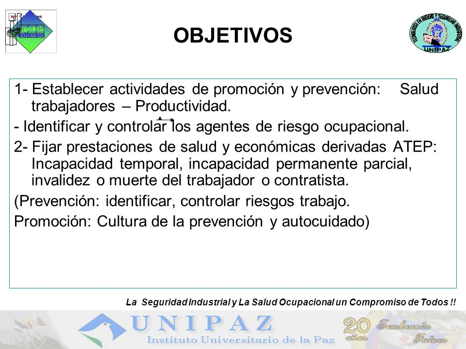 10 OBJETIVOS 1- Establecer actividades de promoción y prevención: Salud trabajadores – Productividad. - Identificar y controlar los agentes de riesgo