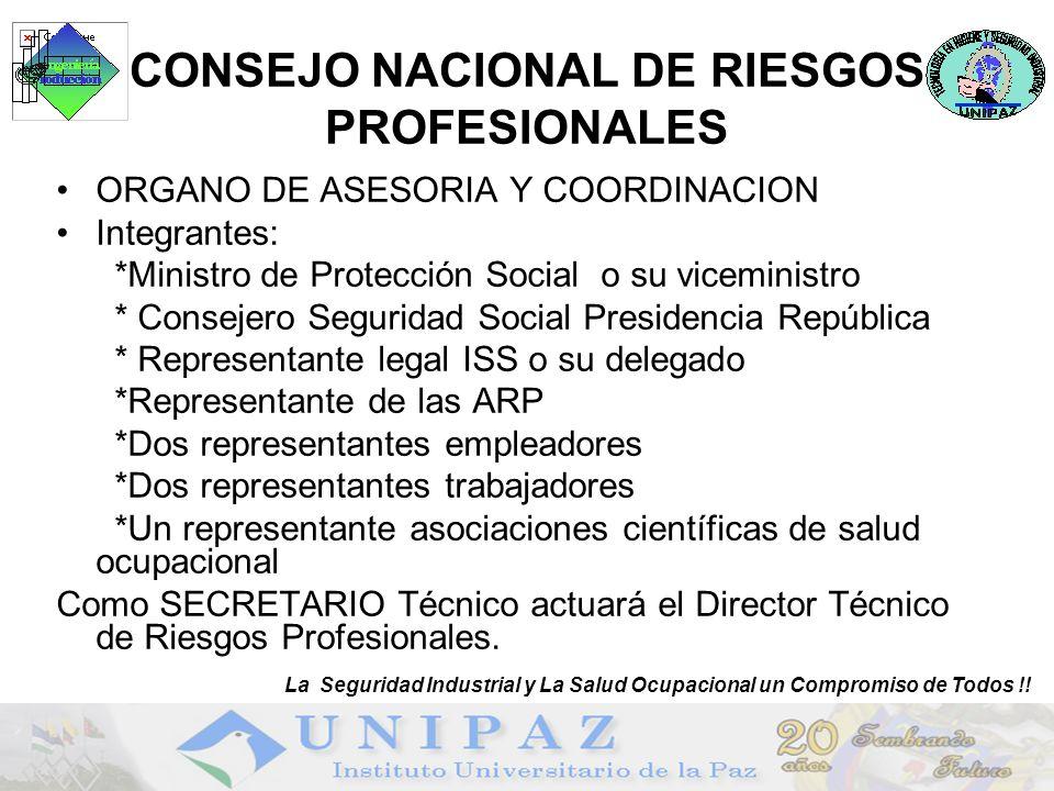 12 CONSEJO NACIONAL DE RIESGOS PROFESIONALES ORGANO DE ASESORIA Y COORDINACION Integrantes: *Ministro de Protección Social o su viceministro * Conseje