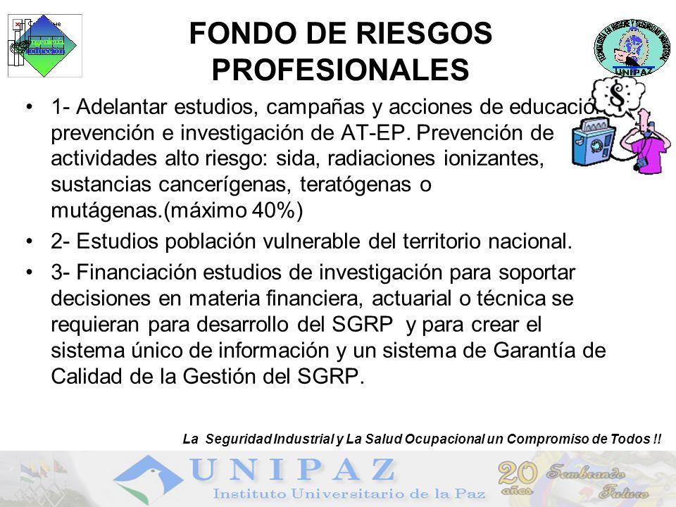 20 FONDO DE RIESGOS PROFESIONALES 1- Adelantar estudios, campañas y acciones de educación, prevención e investigación de AT-EP. Prevención de activida