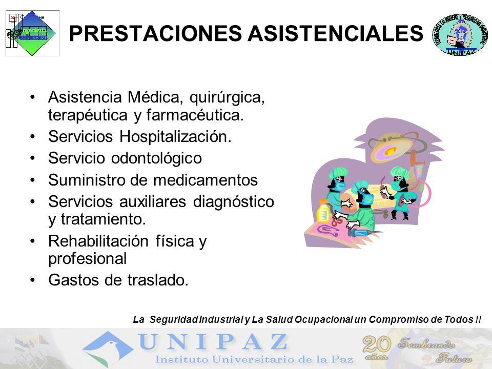 22 PRESTACIONES ASISTENCIALES Asistencia Médica, quirúrgica, terapéutica y farmacéutica. Servicios Hospitalización. Servicio odontológico Suministro d