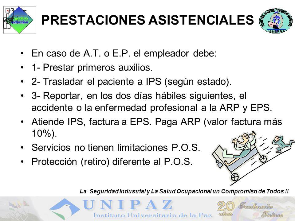 23 PRESTACIONES ASISTENCIALES En caso de A.T. o E.P. el empleador debe: 1- Prestar primeros auxilios. 2- Trasladar el paciente a IPS (según estado). 3
