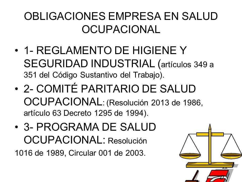 29 OBLIGACIONES EMPRESA EN SALUD OCUPACIONAL 1- REGLAMENTO DE HIGIENE Y SEGURIDAD INDUSTRIAL ( artículos 349 a 351 del Código Sustantivo del Trabajo).
