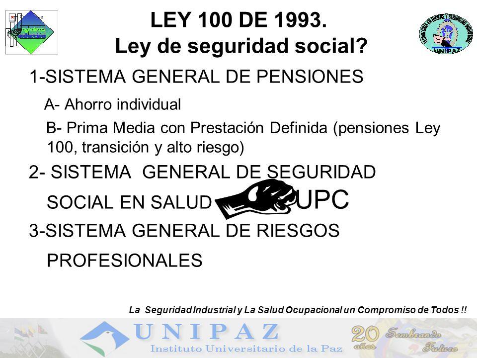 3 LEY 100 DE 1993. Ley de seguridad social? 1-SISTEMA GENERAL DE PENSIONES A- Ahorro individual B- Prima Media con Prestación Definida (pensiones Ley