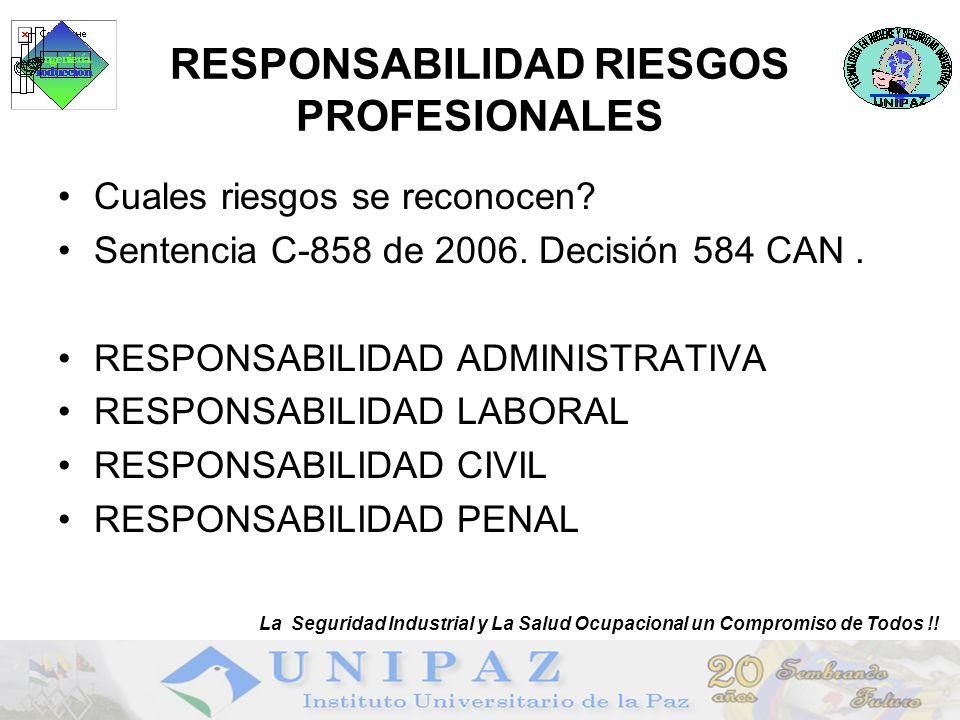 4 RESPONSABILIDAD RIESGOS PROFESIONALES Cuales riesgos se reconocen? Sentencia C-858 de 2006. Decisión 584 CAN. RESPONSABILIDAD ADMINISTRATIVA RESPONS