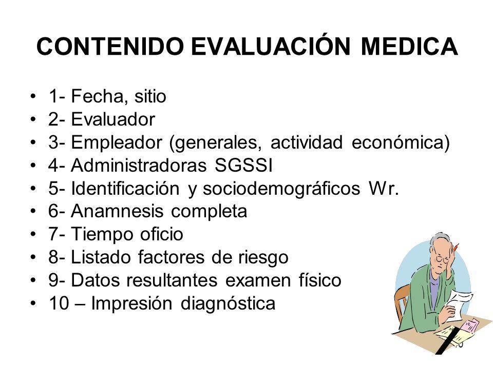 40 CONTENIDO EVALUACIÓN MEDICA 1- Fecha, sitio 2- Evaluador 3- Empleador (generales, actividad económica) 4- Administradoras SGSSI 5- Identificación y