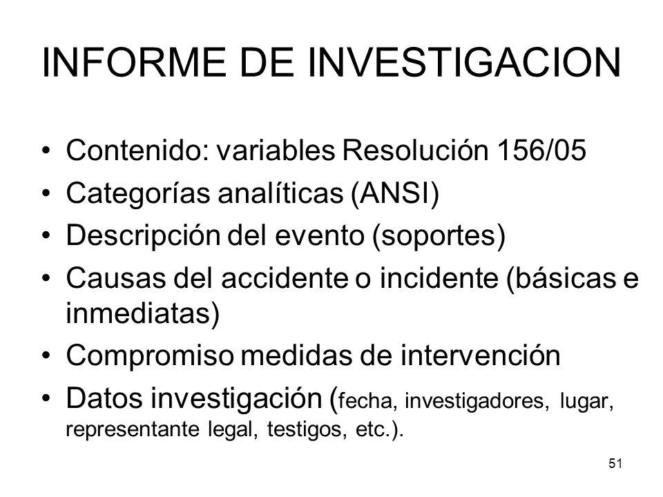51 INFORME DE INVESTIGACION Contenido: variables Resolución 156/05 Categorías analíticas (ANSI) Descripción del evento (soportes) Causas del accidente