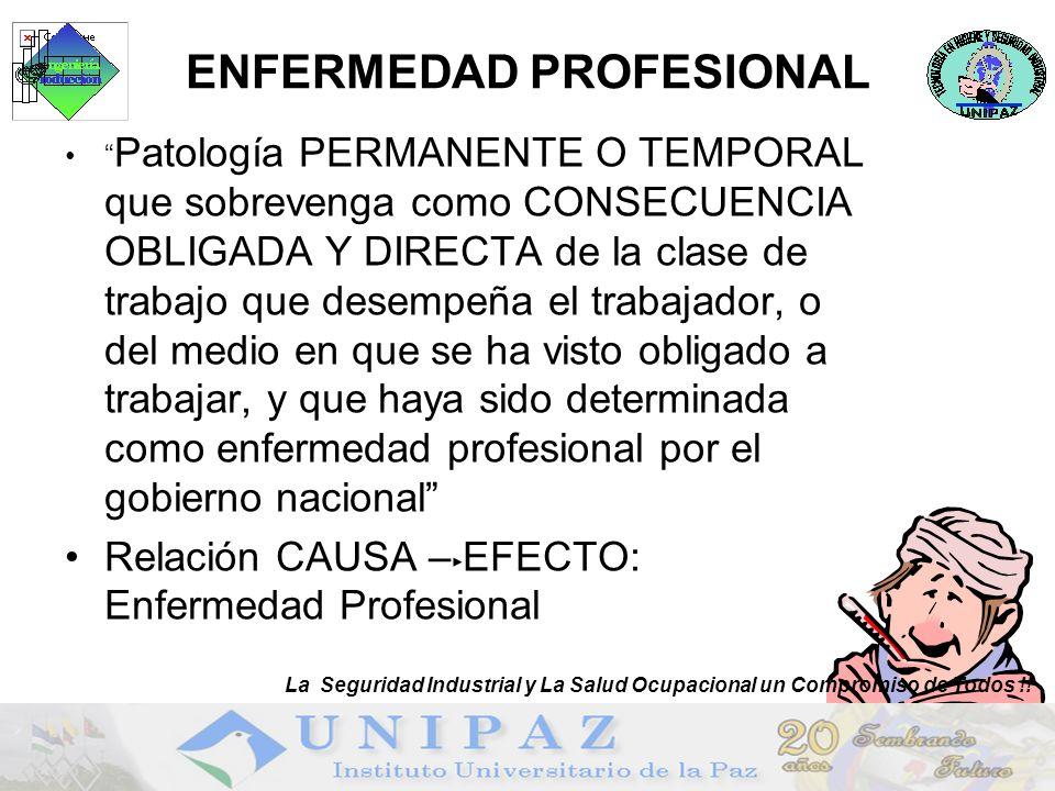 7 ENFERMEDAD PROFESIONAL Patología PERMANENTE O TEMPORAL que sobrevenga como CONSECUENCIA OBLIGADA Y DIRECTA de la clase de trabajo que desempeña el t