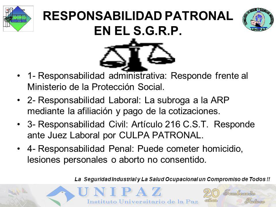 8 RESPONSABILIDAD PATRONAL EN EL S.G.R.P. 1- Responsabilidad administrativa: Responde frente al Ministerio de la Protección Social. 2- Responsabilidad